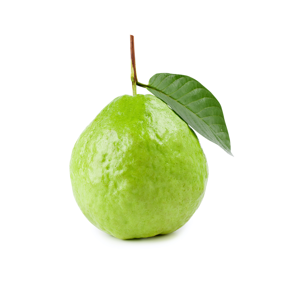 Guava fruit with leaves isolated on the white background
